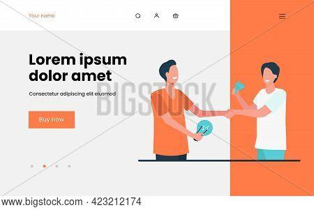 Man Investing Money In Startup. Partners, Lightbulb, Cash, Handshake Flat Vector Illustration. Busin