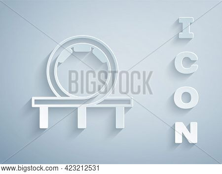 Paper Cut Roller Coaster Icon Isolated On Grey Background. Amusement Park. Childrens Entertainment P