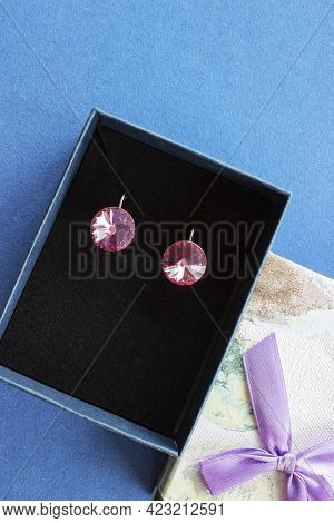Set Of Pearl Jewellery In Gift Box With Flowers. Silver Earrings And Ring With Pearls As A Present F