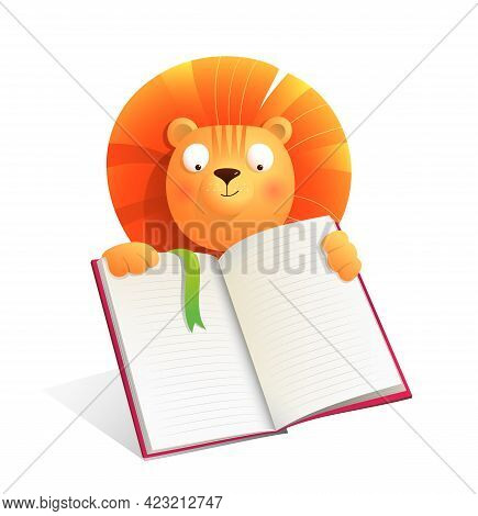 Baby Lion Holding Empty Notebook Or Reading A Book, Studying Or Making Presentation. Animal Cartoon