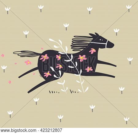 Wild Abstract Horse Running In The Field With Flowers, Scandinavian Style Animal Monochrome Hand Dra