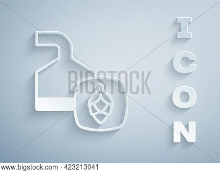 Paper Cut Traditional Brewing Vessels In Brewery Icon Isolated On Grey Background. Beer Brewing Proc
