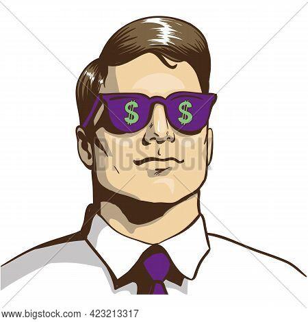 Pop Art Man Billionaire In Dollar Glasses Vector