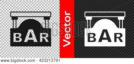 Black Street Signboard With Inscription Bar Icon Isolated On Transparent Background. Suitable For Ad