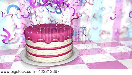 Greeting Card Of A Red And White Birthday Cake With Red Cream And Candles On A Reflective Pink And W