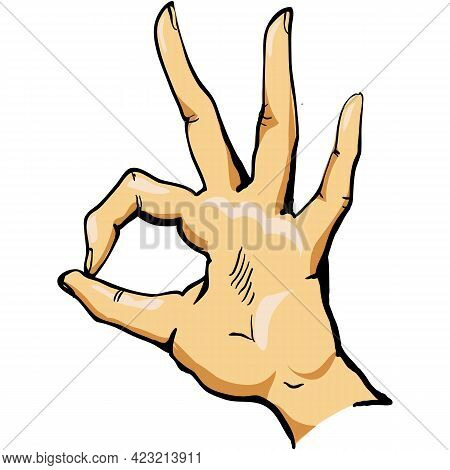 Ok Hand Vector Sign Okay Finger Gesture Icon Isolated