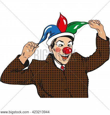 Pop Art Circus Clown, Comic Joker Businessman Mask Vector