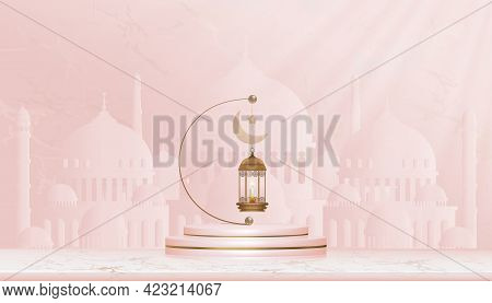 Eid Mubarak Card,traditional Islamic Lantern, Candles And Crescent Moon Hanging On Podium With Mosqu