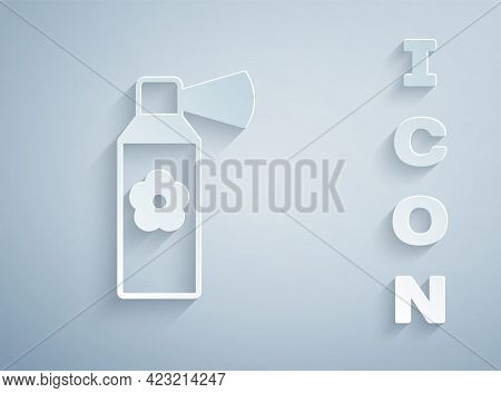 Paper Cut Air Freshener Spray Bottle Icon Isolated On Grey Background. Air Freshener Aerosol Bottle.