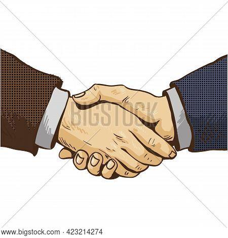 Pop Art Handshake Vector Icon Isolated On White