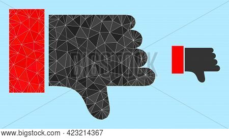 Lowpoly Thumb Down Icon On A Sky Blue Background. Polygonal Thumb Down Vector Constructed With Rando