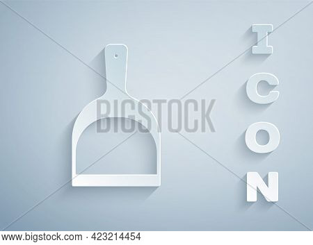 Paper Cut Dustpan Icon Isolated On Grey Background. Cleaning Scoop Services. Paper Art Style. Vector