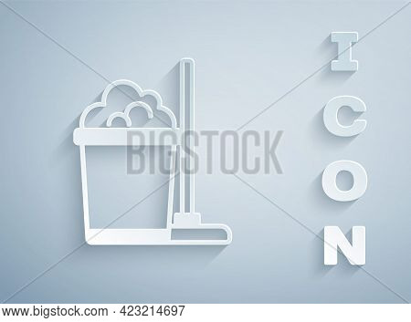 Paper Cut Mop And Bucket Icon Isolated On Grey Background. Cleaning Service Concept. Paper Art Style