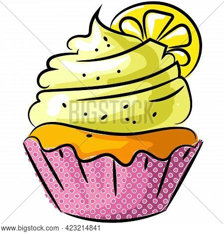 Vector Biscuit Cupcake With Lemon And Icing Icon