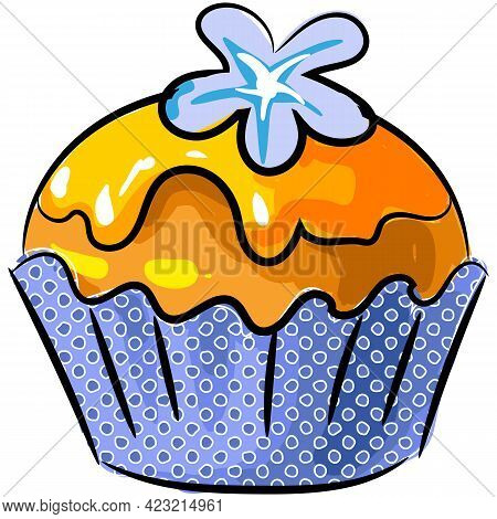 Vector Biscuit Cupcake With Vanilla Caramel Icing Icon