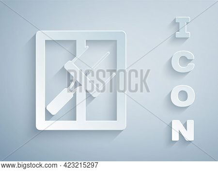 Paper Cut Cleaning Service With Of Rubber Cleaner For Windows Icon Isolated On Grey Background. Sque