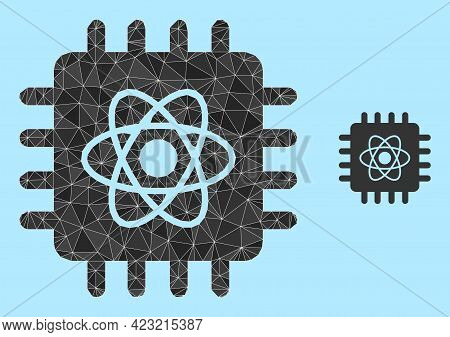 Low-poly Quantum Computing Icon On A Light Blue Background. Polygonal Quantum Computing Vector Combi