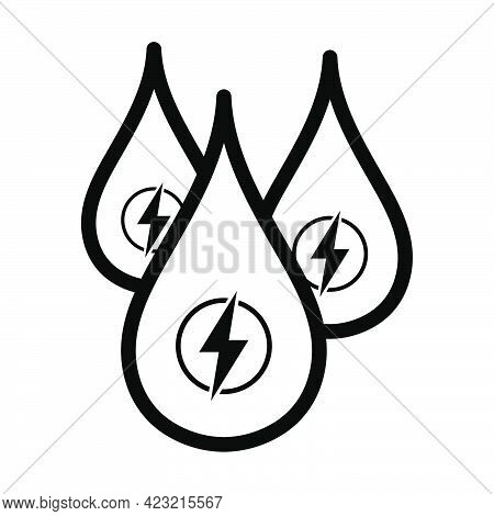 Hydro Energy Drops Icon. Bold Outline Design With Editable Stroke Width. Vector Illustration.