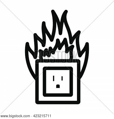 Electric Outlet Fire Icon. Bold Outline Design With Editable Stroke Width. Vector Illustration.