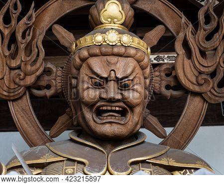 Imabari, Japan - April 11, 2018: Buddhist Guardian Deity Statue Inside The Gates Of Nankobo, Temple