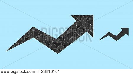 Lowpoly Growing Arrow Chart Icon On A Light Blue Background. Polygonal Growing Arrow Chart Vector Fi