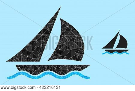 Low-poly Sailing Icon On A Light Blue Background. Polygonal Sailing Vector Designed From Chaotic Tri