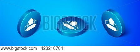 Isometric Wet Wipe Pack Icon Isolated On Blue Background. Blue Circle Button. Vector