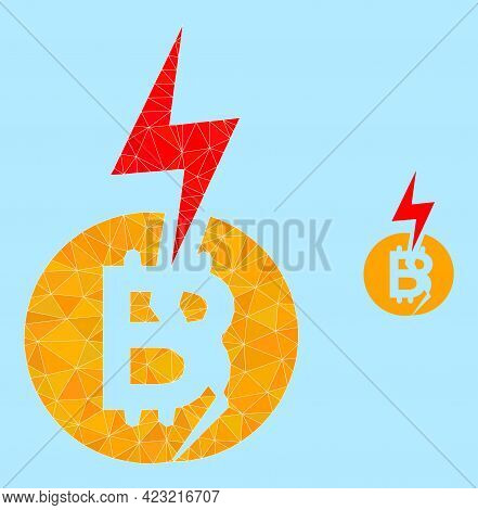 Lowpoly Bitcoin Crash Icon On A Light Blue Background. Polygonal Bitcoin Crash Vector Combined From