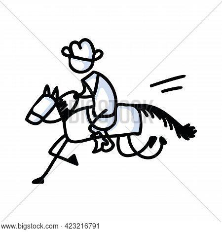 Black And White Drawn Stick Figure Of Cowboy Horseback Rider Clip Art. Wild Masculine Stallion For M