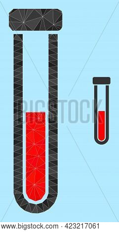 Lowpoly Blood Test-tube Icon On A Light Blue Background. Polygonal Blood Test-tube Vector Combined W