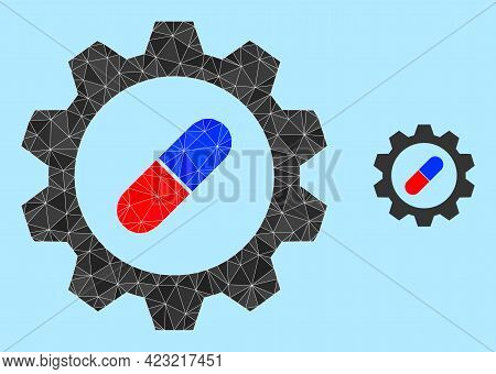 Low-poly Pharma Industry Icon On A Sky Blue Background. Polygonal Pharma Industry Vector Designed Of