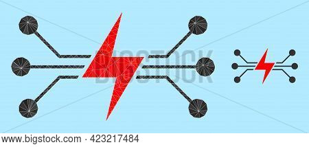 Low-poly Energy Circuit Icon On A Sky Blue Background. Polygonal Energy Circuit Vector Is Combined W