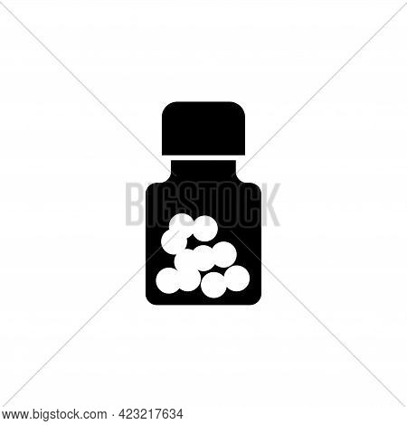 Medical Bottle With Pills, Medicine Vial. Flat Vector Icon Illustration. Simple Black Symbol On Whit