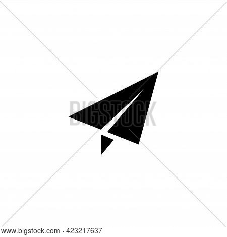 Paper Airplane, Fly Plane, Origami. Flat Vector Icon Illustration. Simple Black Symbol On White Back