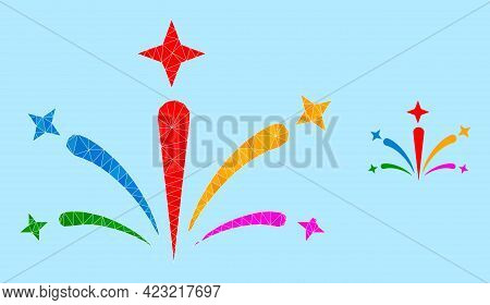 Low-poly Salute Fireworks Icon On A Sky Blue Background. Polygonal Salute Fireworks Vector Is Design