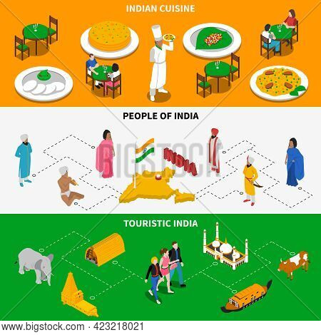 India For Tourists 3 Isometric Tricolor Banners With National Cuisine Dishes And Attractions Abstrac
