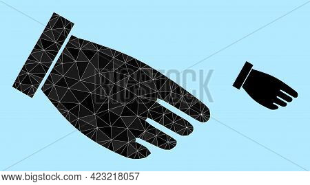 Lowpoly Hand Palm Icon On A Sky Blue Background. Polygonal Hand Palm Vector Is Constructed From Scat
