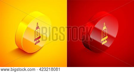 Isometric Addiction To The Drug Icon Isolated On Orange And Red Background. Heroin, Narcotic, Addict