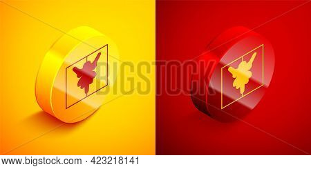 Isometric Rorschach Test Icon Isolated On Orange And Red Background. Psycho Diagnostic Inkblot Test