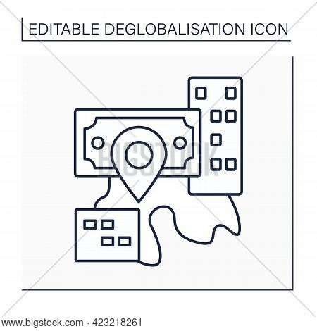Reverse Globalization Line Icon. Process Of Diminishing Interdependence And Integration. Change In T
