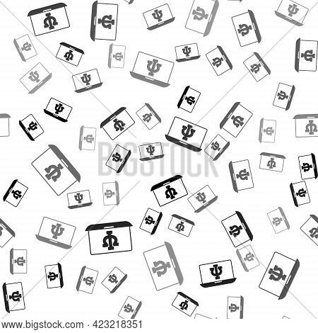 Black Online Psychological Counseling Distance Icon Isolated Seamless Pattern On White Background. P