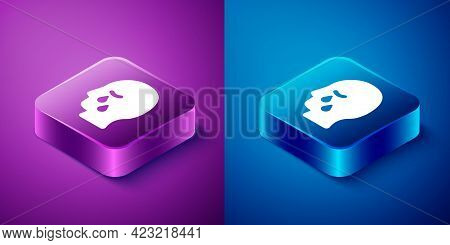 Isometric Man Graves Funeral Sorrow Icon Isolated On Blue And Purple Background. The Emotion Of Grie