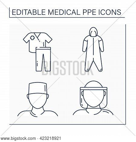 Medical Ppe Line Icons Set. Medical Hood, Coveralls, Surgical Cap, Scrub Suit. Barrier Between Perso
