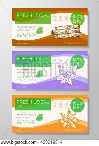 Fresh Local Label Templates Set. Abstract Vector Packaging Horizontal Design Layouts Collection. Mod