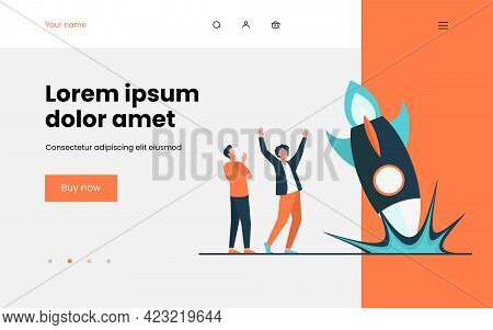 Anxious Guys Watching As Rocket Falling Down. Accident, Explosion, Problem Flat Vector Illustration.
