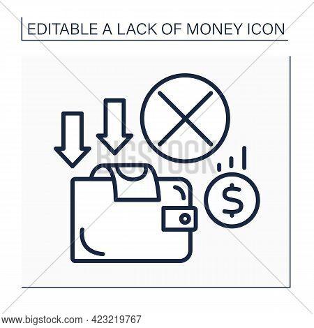 Money Line Icon. Empty Wallet. Loses All Cash. Money Lacks. Poverty Concept. Isolated Vector Illustr
