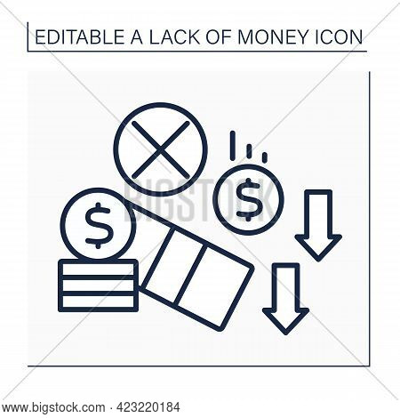 Investment Line Icon. Money Loses. Unprofitable Investment. Poverty Concept. Isolated Vector Illustr