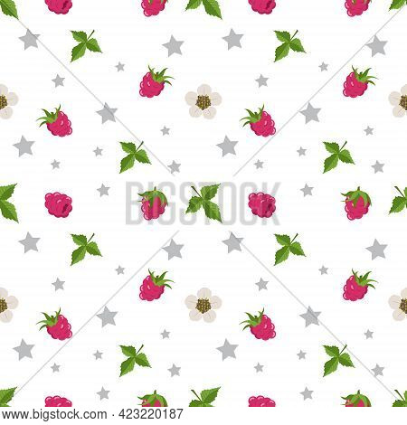 Seamless Pattern With Raspberries, Flowers And Leaves. Cute Print Of Summer Or Spring Berries With S
