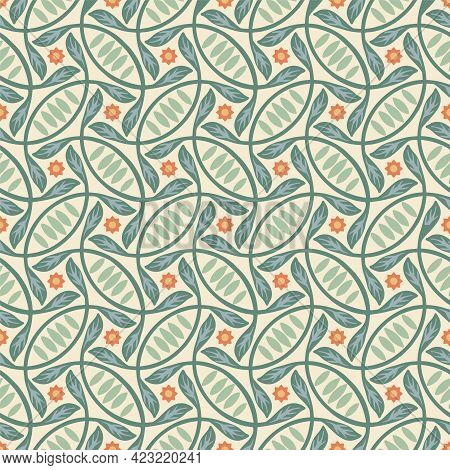 Vector Leaves And Winding Stems Seamless Pattern Background