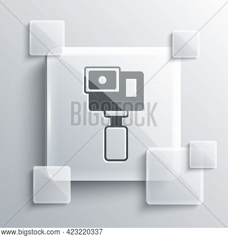 Grey Action Extreme Camera Icon Isolated On Grey Background. Video Camera Equipment For Filming Extr